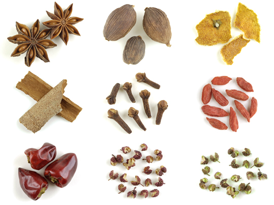 Close-up of different types of Assorted Spices in a wooden box