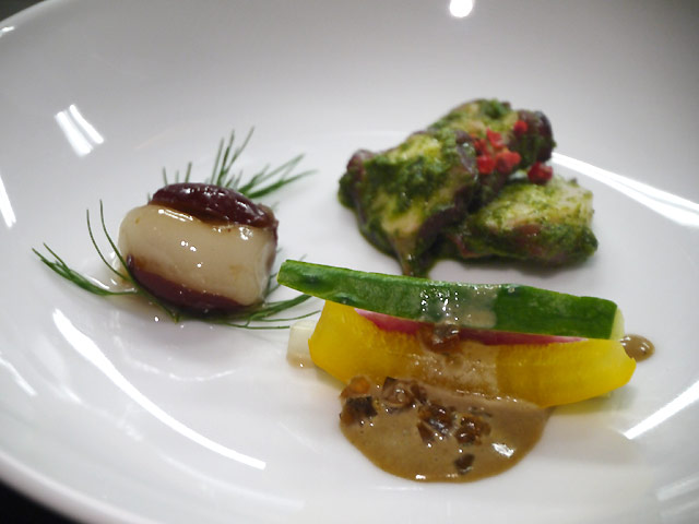 ナツメのもち米詰め 金木犀風味/スティック野菜のピータンソース/タコの台湾バジルソース和え