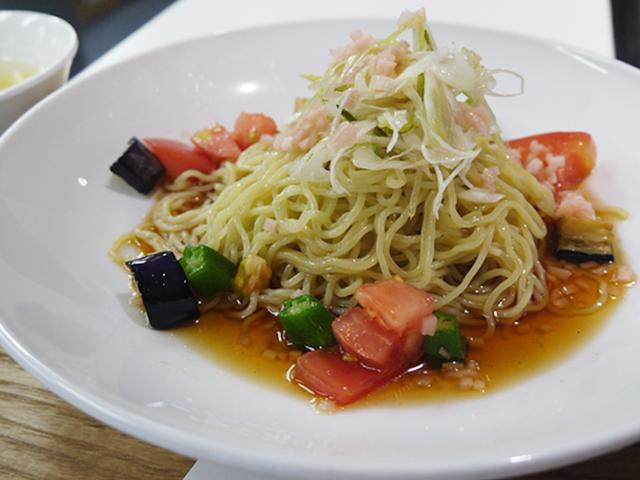 A:季節野菜たくさんのさっぱり冷し麺