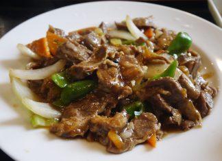 「延吉香 御徒町店」のハラミとピーマンの炒め(青椒护心肉)700円