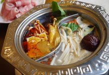 上野「海龍宮 重慶火鍋 名膳」の海龍宮小火鍋定食(豚肉鍋)1,080円