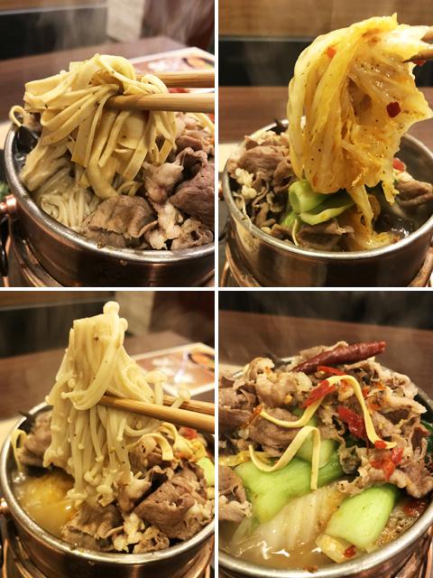 上段左から豆腐干糸、白菜、エノキダケ、チンゲン菜。他にモヤシ、キクラゲなど。