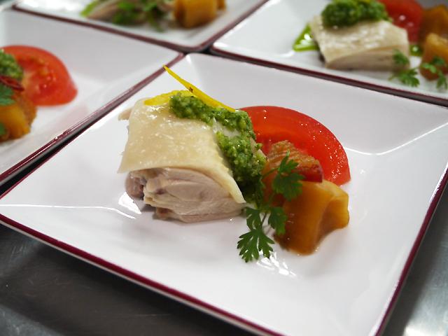 カブの紹興酒漬け/蒸し鶏 葱生姜ソース 柚子風味