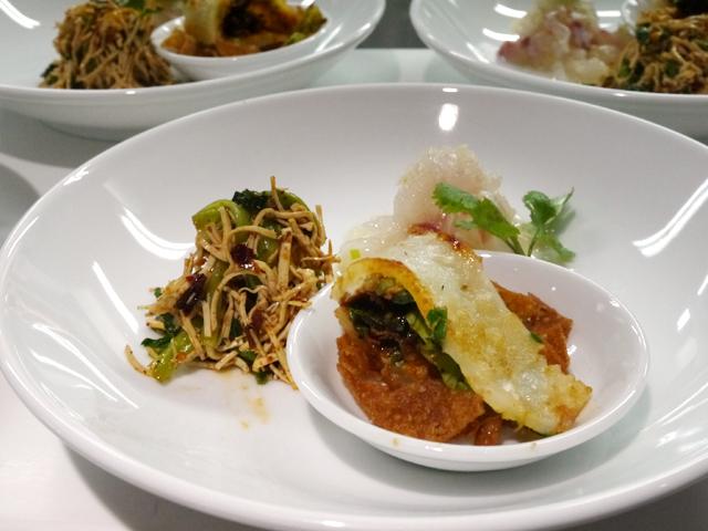 桜鯛のネギダレ和え/押し豆腐とセリの麻辣和え/中国式クレープ
