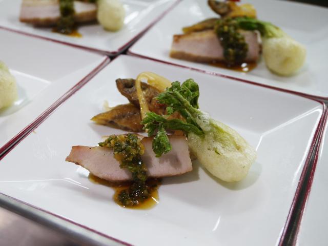 豚トロの焼き物 椒麻ソース/タラの芽の中国天婦羅/ワカサギの南蛮漬け