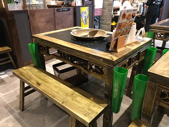 火鍋の埋め込まれたテーブル