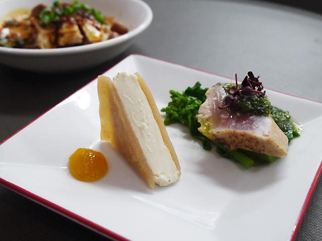 クリームチーズの紹興酒漬け/鰤の葱山椒ソース